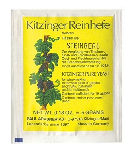 WEINHEFE STEINBERG Arauner Kitzinger – Trocken Reinhefe für 50L | Naturhefe | Obstwein hefe | Hefenährsalz | Alkoholhefe | Methefe | Apfelweinhefe