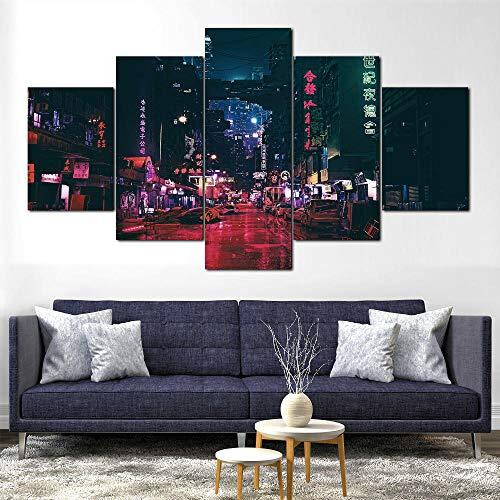 Cuadro sobre Impresión Lienzo 5 Piezas-Mural Moderno 5 Piezas,Ficción ciudad futurista Cyberpunk Dormitorios Decor para El Hogar -No Tejido Lienzo Impresión- Modular Poster Mural-Listo para Colgar