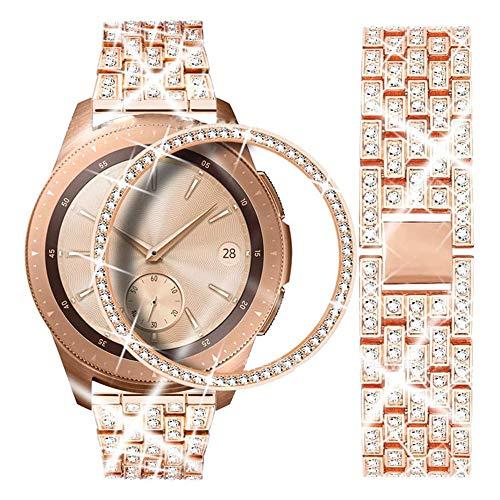DEALELE Armband Kompatibel mit Samsung Gear Sport/Galaxy Watch 42mm, 20mm Diamant Edelstahl Metall Uhrenarmband mit Diamant Lünette Ring Schutzhülle, Roségold