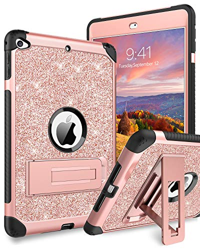 YINLAI iPad Mini 5 Case, iPad Mini 4 Case,3 in1 Hybrid Glitter Sturdy Kickstand Durable Full Protective Shockproof Girly Kids Back Tablet Cover Case for iPad Mini 5th/4th Generation, Rose Gold Sparkle