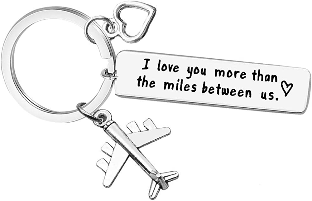 Couple Keychain Long Distance Relationship Gift for Boyfriend Girlfriend I Love You More Than The Miles Between Us Keyring Couples Jewelry Going Away Gift Brithday Valentines Anniversary Gift