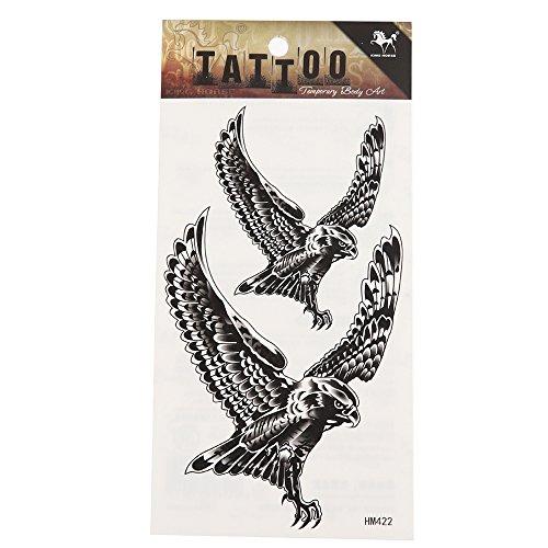 Klebetattoo Tattoos Adler schwarz weiß Comic-Style vereinfacht 2 Motive 1 Bogen