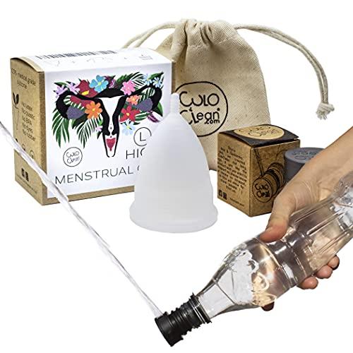CuloClean Menstrual Cup Higo(L). Copa íntima gran capacidad + bolsa + bidé portátil. Pack flujo abundante o después del parto, de silicona médica suave, hipoalergénica y transparente.