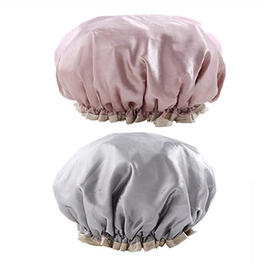 無力叫ぶ構成員帽子ダブル防水シャワーキャップ大人の女性モデル風呂髪カバーシャワーヘッドカバー帽子風呂髪セット防煙シャワーキャップ2パック (Color : GRAY, Size : 27CM)
