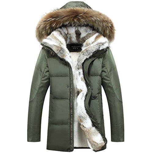 MINMINA Herrenwinterjacke Newmen's Downjacket Langarm-Daunenjacke für Männer KoreanischeVersion der Hochgeschwindigkeitsanzüge für Wintermenschen-Dickjacke, grün, 5XL