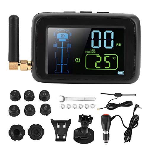 Sistema de control de presión de neumáticos de coche Sensor TPMS Monitor de presión de neumáticos Detector en tiempo real Monitor de pantalla LCD con 6 sensores para furgonetas y remolques