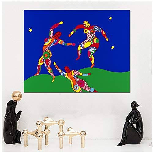 A&D Niki De Saint Phalle Der Tanz Abstrakte Ölgemälde auf Leinwand Zeichnung Kunst Wandkunst für Wohnzimmer Schlafzimmer -60x90cm Kein Rahmen