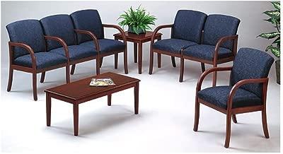 Lesro Weston Six Seat Reception Seating Set Weight: 189 lbs Navy Fabric/Cherry Finish
