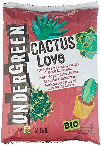 UNDERGREEN Love Cactus, Plantas crasas y suculentas, Apto para Agricultura ecológica, Substrato de...