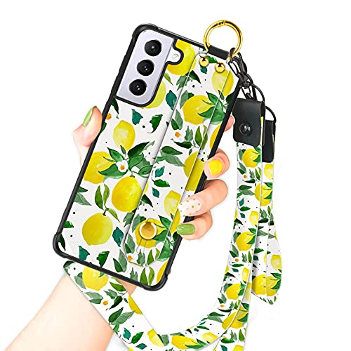 OOK Compatible with Samsung Galaxy S21 5G Case Lemon Flowers Design Wrist Strap Cell Phone Cover with Lanyard Kickstand Band Protective Stand Fruit Pattern Bumper Case for Women Girls for S21 5G 6.2'