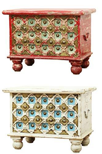 Orientalische Truhe Kiste aus Holz Anik Weiss 60cm | Vintage Sitzbank mit Aufbewahrung für den Flur | Aufbewahrungsbox mit Deckel im Bad | Betttruhe als Kissenbox oder Deko im Schlafzimmer - 6