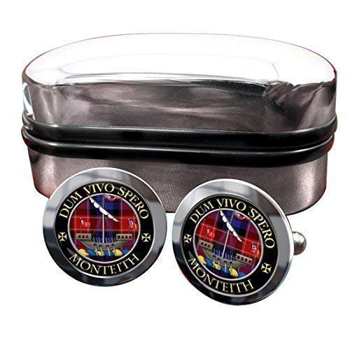 Monteith Clan Écossais Cimier Hommes Boutons De Manchettes avec Chrome Emballage Cadeau