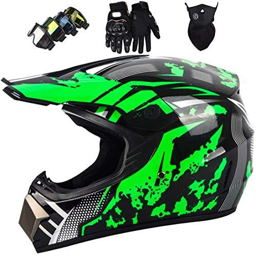 Casco de motocross para niños con máscara guantes gafas,Conjunto casco integral MTB,Casco protección unisex para motocicleta Dirt Bike ATV Road Downhill Motorbike,Certificación DOT & ECE,Verde negro