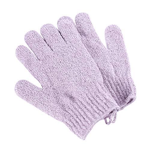 FRCOLOR 1 paire de gants de douche exfoliants en nylon doux pour homme, femme, enfant (violet).
