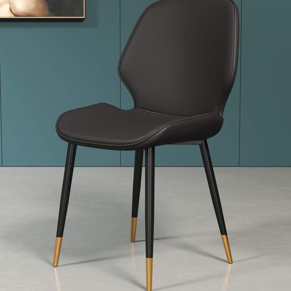 LJFYXZ Chaises Salle Manger Restaurant à domicile Chaise de bureau simple Faux cuir Dossier simple Avec pieds en métal 130 kg (Color : Beige) Black