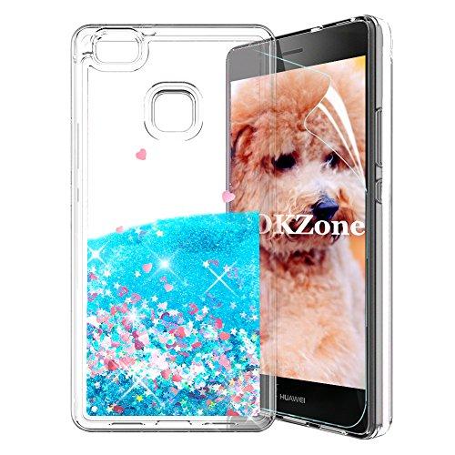 OKZone Funda Huawei P9 Lite [con Protector Pantalla], Brillo Brillante Liquida 3D Sparkly Liquid diseño Creativo TPU Fundas Protectora a Prueba de Golpes de Case para Huawei P9 Lite (Corazón Azul)