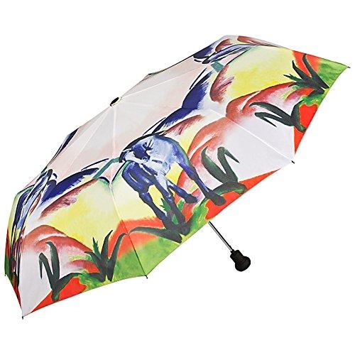 VON LILIENFELD Regenschirm Taschenschirm Franz Marc: Blaues Pferd Stabil Leicht Auf-Automatik Damen Herren Kunst