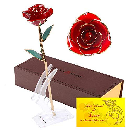 DuraRose Authentic Rose with Stand and Love Card, Stem Dipped in 24k Gold - Best Gift for Loves Ones. Ideal for Valentine's Day, Mother's Day, Anniversary, Birthday, (Adorable Red)