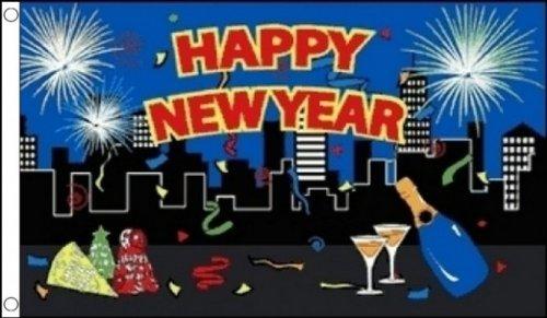 AZ FLAG Drapeau Bonne année Ville 150x90cm - Drapeau Happy New Year - Nouvel an 90 x 150 cm - Drapeaux