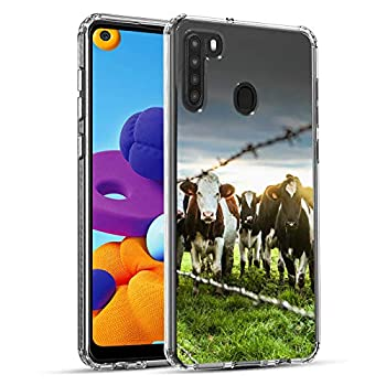 Yunan Newly 2020 Fashion Anti-Scratch Soft Durable TPU Ultra-Clear Silicone UV Printing Protective Milky Cow Phone Case for Samsung Galaxy A21
