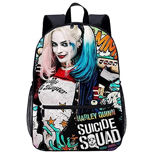 ABUKJM Suicide Squad: Harley Quinn Zaino scuola Borse per libri in tela scuola zaino all'aperto casual Zaino unisex zaini leggeri zaino vintage