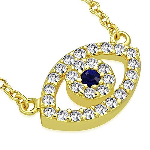 In argento Sterling 925 e oro giallo, motivo: occhio del diavolo, a forma di mano di Fatima, con zirconia cubica, collana con ciondolo, da donna, colore: blu