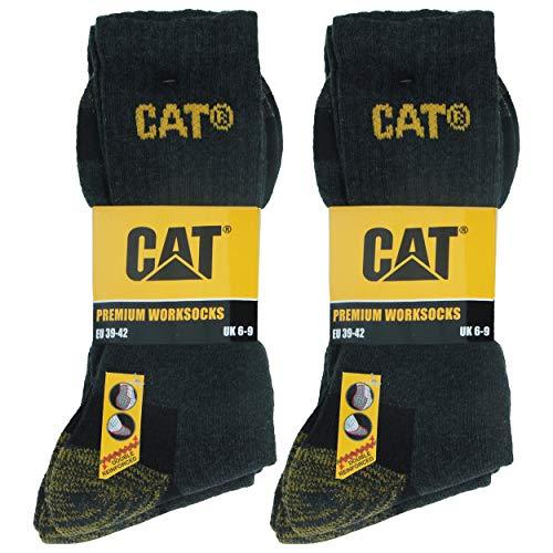 Caterpillar Premium 6 paar Herren-Arbeitsschutzsocken, doppelte Verstärkung an Zehen und Ferse, hochwertige Garne, Baumwollschwamm (Grau, 47-50)