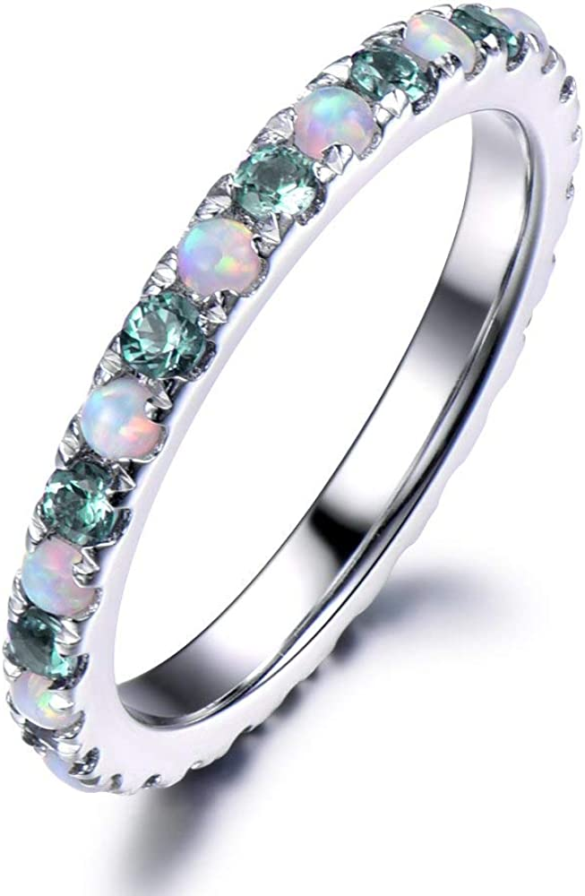 Opal Ring,Engagement Ring,Opal Wedding Band,Opal Eternity Ring,Promise Ring,Eternity Ring,Engagement Ring,Birthstone Ring,Mothers Day Gift.