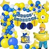 MMTX Decoraciones Fiesta Cumpleaños Plátano, Fiesta de Cumpleaños con Pancarta de Feliz Cumpleaños, Globo de Látex de un Ojo Pentagrama Globo de Aluminio Bola de Panal para Niños Plátano Party