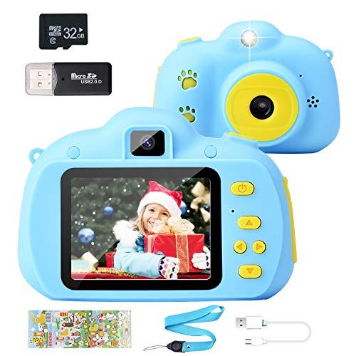 Hangrui Cámara para Niños, HD Doble Objetivo Juego Video Cámara de Fotos Digital con Tarjeta de Memoria de 32GB, Pantalla de Protección Ocular IPS de 2,4 Pulgadas, a Prueba de Golpes (Azul)