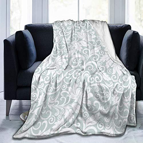 Minalo Decke Werfen Leichte Weiche Warme,Grau mit Weiß im Barockstil,Mikrofaser Alle Jahreszeiten Wohnzimmer/Schlafzimmer/Sofa Couch Bett Flanell Quilt,40