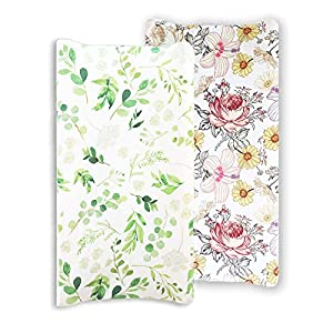 Baby Floral Diaper Changing Pad Cover Cradle Mattress, 2 Pack Floral Changing Table Cover, Green Leaf Changing Pad Covers (Flower&Green Leaf)