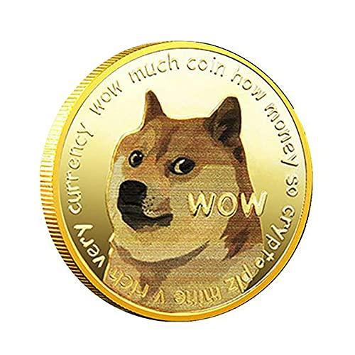 QUEAMBLER Dogecoin Münze Doge Münze Gedenkmünze physische Blockchain Crypto Sammelmünze mit Schutzhülle 1 Stück