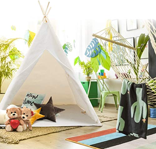 Peradix Kids Teepee Tent with Floor Mat and Carry Case- Kids Foldable Tipi Play Tent for Indoor Outdoor, White Canvas Teepee - Kids Playhouse