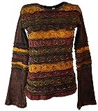 Guru-Shop Goa Langarmshirt Stonewash 5, Damen, Braun, Baumwolle, Size:S (36), Pullover, Longsleeves & Sweatshirts Alternative Bekleidung