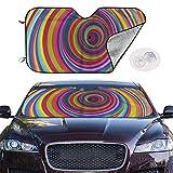 mchmcgm Sonnenschirm Abdeckung Rainbow Colored Vortex Hypnotic Effect Auto Windwhield Sun Shades Universal Fit 51.2 X 27.6 Inch Window Keep Your Vehicle Cool Visor for SUV Sunshade Cover