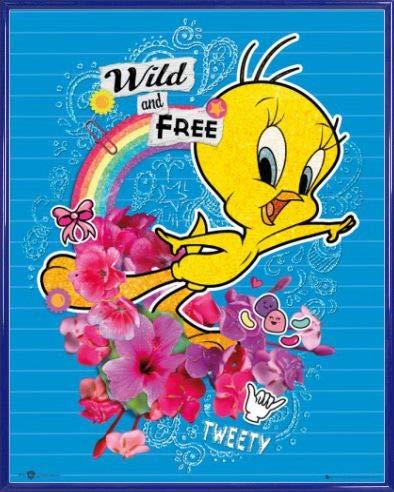 1art1 Looney Tunes Póster Mini con Marco (Plástico) - Tweety Pie, Wild and Free (50 x 40cm)
