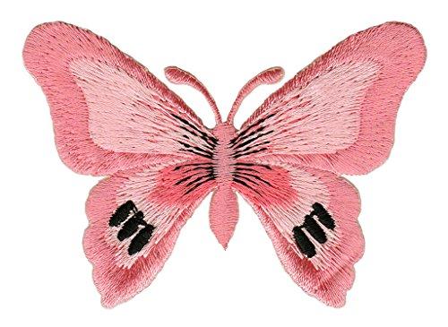 Schmetterling Falter Dunkelrosa Aufnäher Bügelbild Patch Applikation
