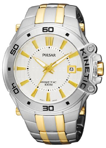Pulsar Men's PAR147 Kinetic Two-Tone Stainless-Steel Bracelet Two-Tone Case Silver-Tone Dial...