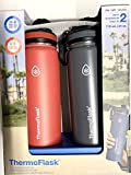 Thermoflask Leak Proof Wide Mouth Easy Carry Loop Spout Lid 24 OZ (2 Pack) (RED/CHARCOAL)