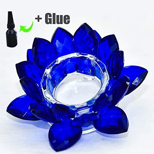 Crystal Lotus Kerzenhalter,4.8 Zoll Saphir Blau Teelichthalter Mit Geschenk-box,kerzenständer Für Festival Décoration De La Maison-saphir 13x7cm(5x3inch)