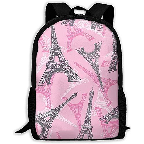 huatongxin Backpack Pink Grey Eifel Tower Paris Bookbag Casual Travel Bag for Teen Boys Girls
