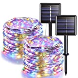JMEXSUSS Solar Fairy Lights Outdoor Waterproof, 2 Pack Each 33ft 100 LED Solar String Lights Multicolor, 8 Modes Silver Wire Solar Christmas Lights for Patio Wedding Party Tree Garden Decoration