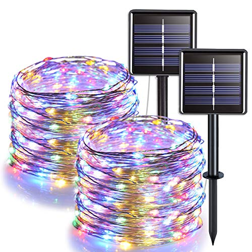 JMEXSUSS 100 LED Solar String Lights Outdoor Waterproof, 2 Pack Solar Fairy Lights, 8 Modes Solar Christmas Lights, 32.8ft Multicolor Copper Wire Lights for Patio, Wedding, Party, Tree Decoration