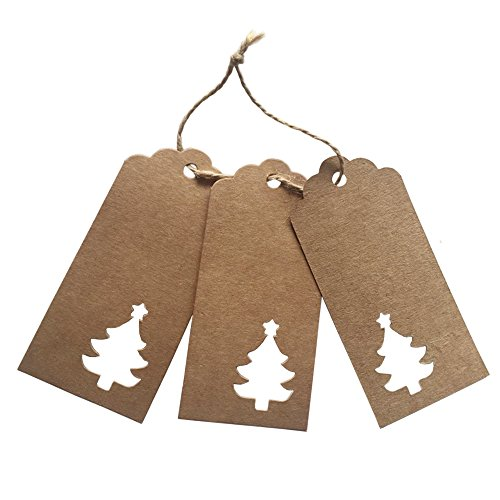 Doutop Etichette per alberi per articoli da regalo e cartellini dei prezzi e corda rettangolare di iuta 100 Pezzi Marrone