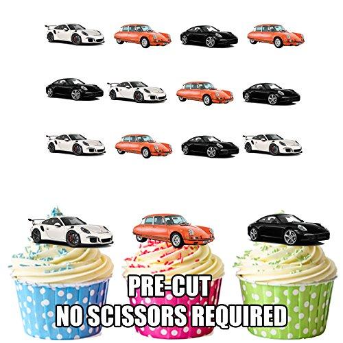 Porsche Sports Car Mix Kuchen Dekorationen-12Esspapier Cup Cake Topper