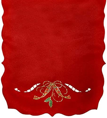 Lenox Holiday Nouveau Red Cutwork 90 X 14 Table Runner with Tartan Ribbon product image
