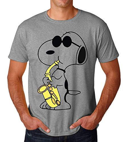 Snoopy Playing Saxophone Music Musician Charlie Brown Men's T-Shirt Herren Tshirt Large