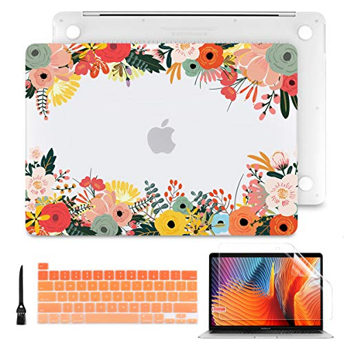 Batianda Case for MacBook Pro 13 M1 A2338 A2289 A2251 Model 2020 Release, PC Hard Shell Case with Keyboard Cover & Screen Protector for Newest Mac Pro13 inch Touch Bar, Orange Floral