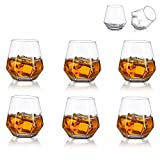 Glasseam Bicchieri da Whisky Diamond Set di 6 Bicchieri da Whisky Inclinati 300ml Bicchiere da Whisky Look Moderno per Uomo, Donna, papà, Marito, Amici, Bicchieri per Bourbon/Rum/Bar Tumbler